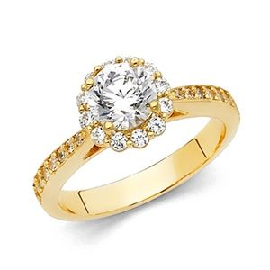 14k Halo 1.25CT Round-Cut Cathedral & Pave CZ Ring